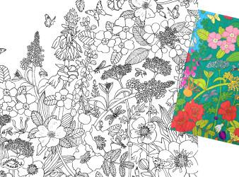 flowers coloring book illustration black & white line art