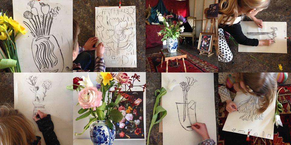 Workshop sketching flowers